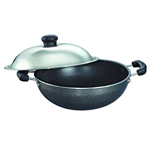 Prestige Omega Select Plus Non-Stick Round Base Kadai with Lid, 17cm