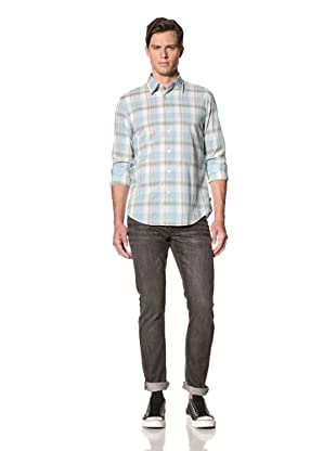 John Varvatos Star USA Men's Point Collar Shirt (Duck Egg)