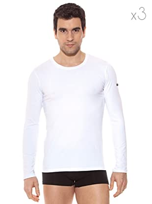 Pierre Cardin Pack 3 Camisetas Manga Larga (Blanco)