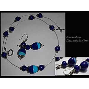 B Jeweled Light And Dark Blue Necklace