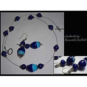 B Jeweled Light And Dark Blue Necklace