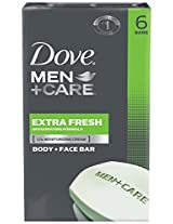 Dove Men Plus Care Body and Face Bar, Extra Fresh, 6 Count