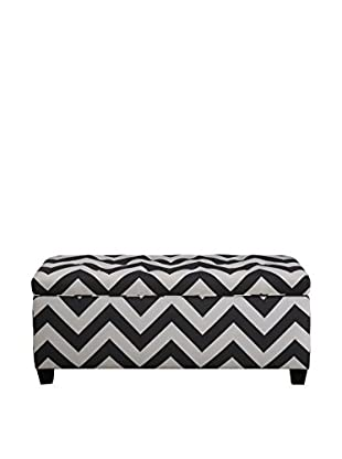 MJL Furniture Sole Secret Small Upholstered Shoe Storage Bench, Charcoal/White