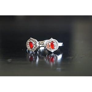 Gajgauri Silver Toe Ring in Silver & Red
