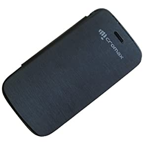 Premium Leather Flip Case Cover W/ Screen Protector for Micromax Superfone Canvas 2 A68 - Black