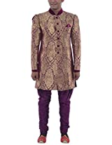 Nimantran Men's King Khab Sherwani (Prarambh - Sh 053, Purple Gold, Xxl)