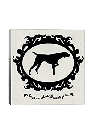 Pointer Black & White Gallery Wrapped Canvas Print