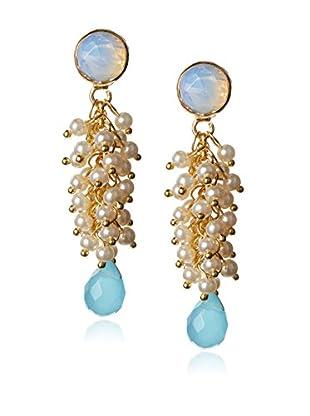 Wendy Mink White Moonstone Top & Pear Cluster Drop Earring