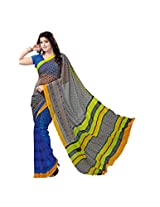ANSS Elegant Faux Georgette Saree with Floral Print - Blue