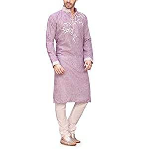 Ethnysis Men's Khadi Unstitched Kurta (Purple_Free Size)
