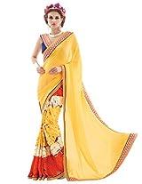Inddus Women Yellow & Red Half & Half Georgette & Art Silk Printed Fashion Saree