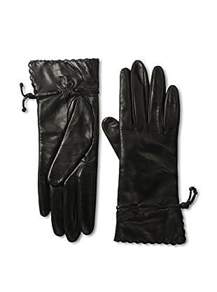 Portolano Women's Scallop Cuff Leather Gloves (Black/Black)