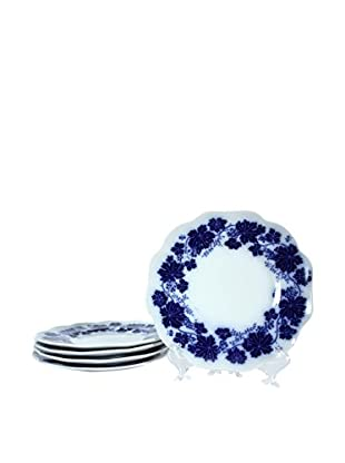 Set of 5 Vinranka Percy Dessert Plates, Blue/White