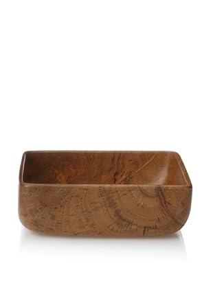 Bahari Teak Wood Square Bowl (Medium Brown)