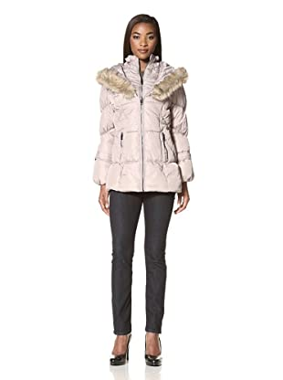 Hawke & Co. Women's Quilted Coat with Faux Fur Trim (Champagne)