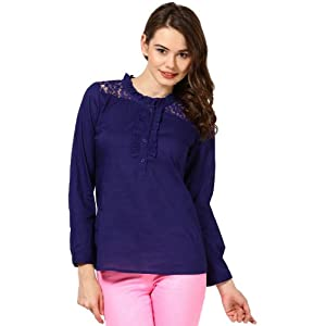 COTTON VOIL FRILLED TOP WITH LACE YOKE-TSF1761-BLUE, small, m
