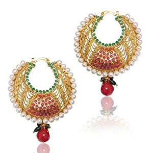 Earrings - Red Green Polki Earring with Beautiful Jali Work vi196 TDS 4