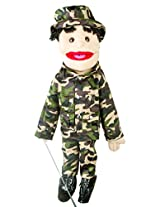 "Sunny Toys 28"" Black-Haired Boy In Army Uniform Full Body Puppet"