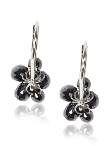 Catherine Angiel 14K White Gold Black Diamond Cluster Leverback Earrings