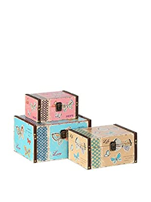 NATURA ACCENT Set Caja de Almacenamiento 3 Uds. Butterfly