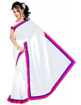 Somya Women's Chiffon White Saree