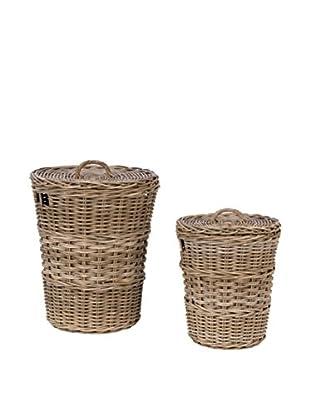 Skalny Set Of 2 Rattan Baskets With Lids, Grey