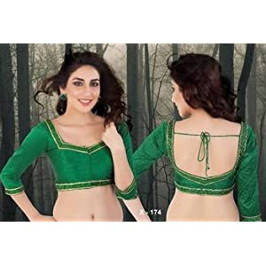 Blouse - Green Ready Made Saree Blouse in dupion silk fabric - Padded - x 174 - Designer Vama Blouse collection from Muhenera