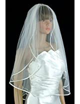Wedding Veil Bridal Bride 2 Tier Ivory Plain Fingertip Satin Hem Trim Tulle