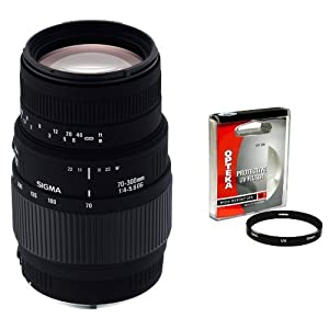 Sigma 70-300mm f/4-5.6 DG Macro Telephoto Zoom Lens with Opteka 58mm UV Filter for Canon EOS SLR Cameras Including the 10D, 20D, 30D, 40D, 50D, Digital Rebel XT, XTi, XS, XSi, & T1i