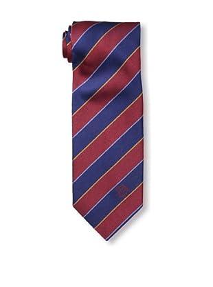 Versace Men's Striped Tie, Burgundy/Dark Blue