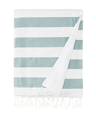 Nine Space Ayrika Beach Collection Wide Stripe Terry Fouta Towel (Green)