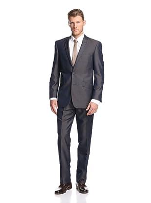 Renoir Men's Slim Fit Sheen Suit (Iridescent Blue)