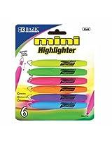 6 Pk, BAZIC Mini Highlighter w/ Cap Clip, 6/Pack (Total of 36)