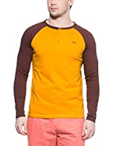 Zovi Cotton Yellow Henley T-shirt With Brown Raglan Sleeves (11242104701_L)