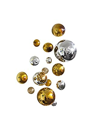 Set of 15 Glass Wall Spheres, Gold/Silver