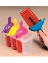 """Ice Pop Maker Molds, Ice Pop Maker For Kids - Set of Four Sipper Ice Pop Maker BPA Free Popsicle Molds - Make 4 Juice Pops, Fruit Pops And More Inside Freezer - NO Mess Sipper Straw Base For Drinking Treats - 4 Piece. Brand """"Perfect Life Ideas"""" TM"""