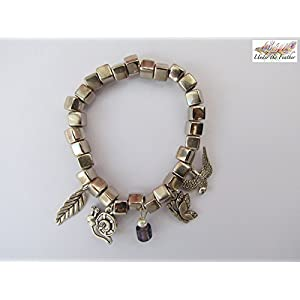 Under the Feather Silver Charm Boxy Bead Bracelet