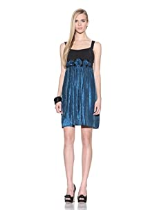 Muse Women's Sleeveless Dress with Shimmer Skirt (Teal)