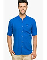 Solid Blue Casual Shirt Status Quo
