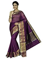 Korni Cotton Silk Banarasi Saree DS-1504- Purple KR0455