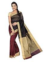 Korni Cotton Silk Banarasi Saree SHDEQ-151- Maroon/Blk KR0479