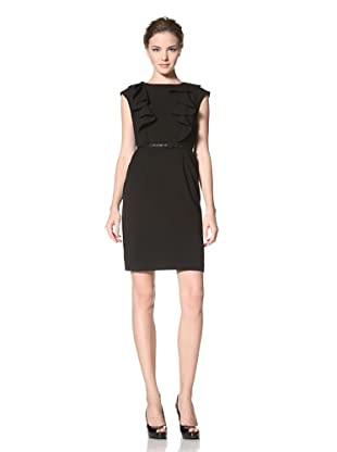 Calvin Klein Women's Cap Sleeve Dress with Ruffle Detail (Black)