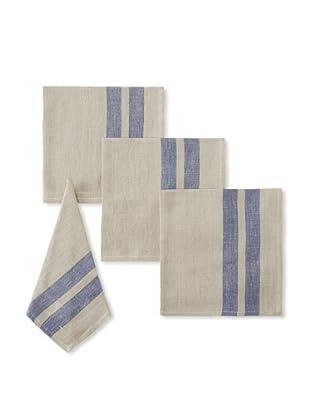 Found Object Lille Set of 4 Linen/Cotton Napkins (Khaki/Blue)