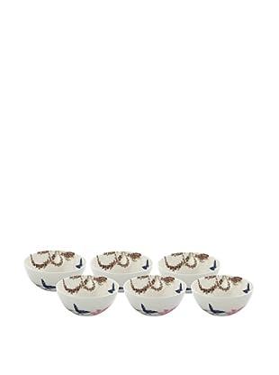 Elinno Set of 6 Morning Flirt Bowls, White/Multi, 5