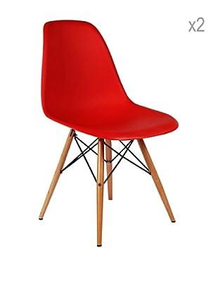 Lo+deModa Set De 2 Sillas Wooden Color Edition Rojo