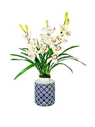 Creative Displays Inc. Cymbidium Orchid Vase, White/Pink/Blue