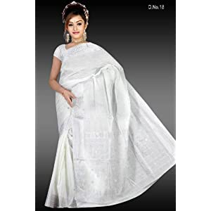 Bengali cotton white saree