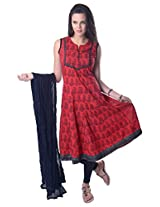 Vastra Vinod Red Cotton Anarkali Suit