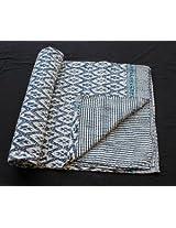 Worldoftextile Hand Block Print Ikat Print Hand Kantha Bedcover (Dohar) Premium Cotton Bedsheet Double size