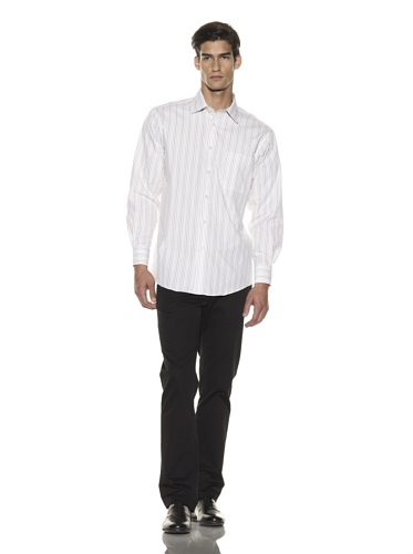Jhane Barnes Men's Striped Long Sleeve Shirt (White/Brown)